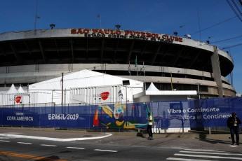 Banner da Copa América de 2019 na entrada do Estádio Morumbi, São Paulo